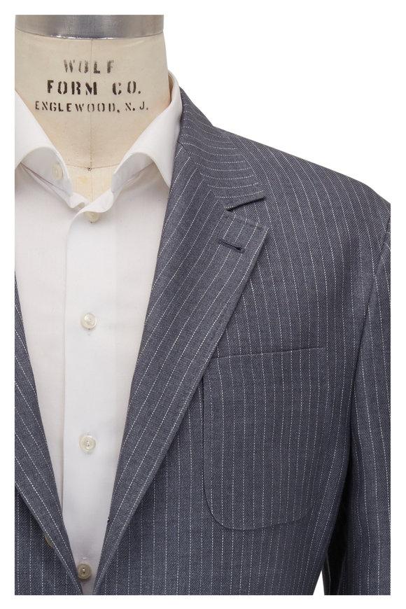 Brunello Cucinelli Gray & White Pinstripe Linen Sportcoat