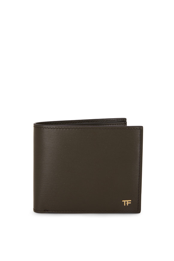 Tom Ford T-Line Olive Green Grained Leather Bi-Fold Wallet