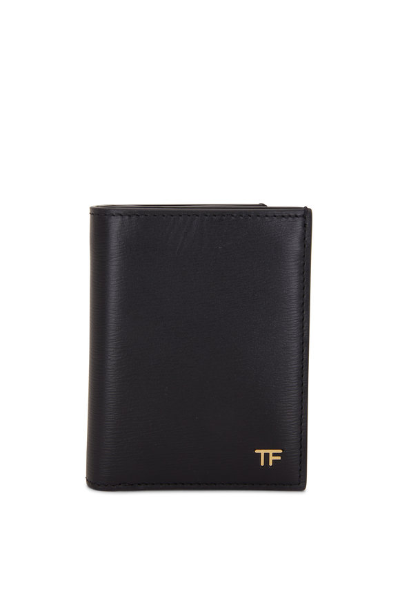 Tom Ford T-Line Black Grained Leather Small Wallet