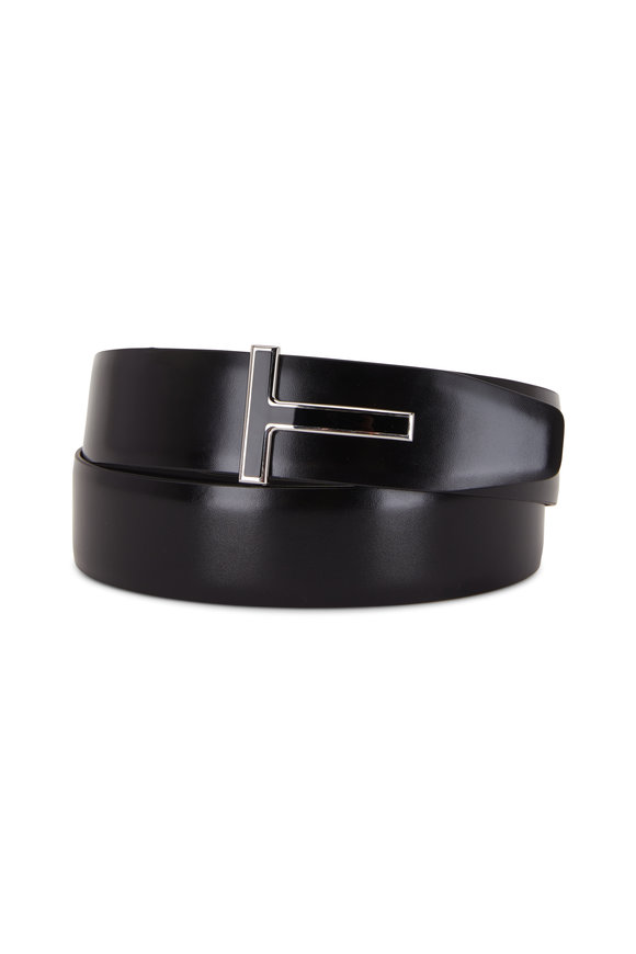 Tom Ford Black Glossy & Matte Leather Reversible T-Belt