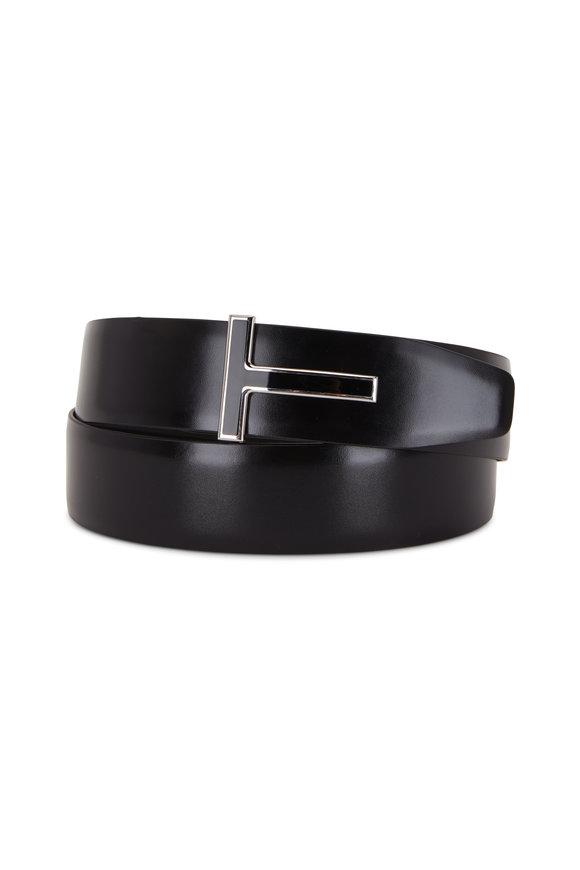 Tom Ford Black Glossy & Matte Leather Reversible T-Belt
