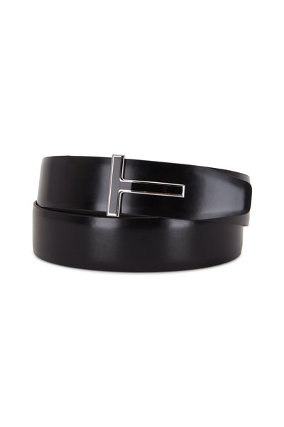 Tom Ford - Black Glossy & Matte Leather Reversible T-Belt