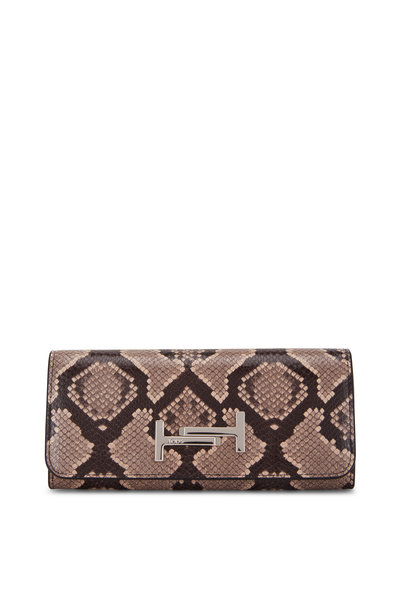 Tod's - Double T Black & Python Embossed Flap Wallet