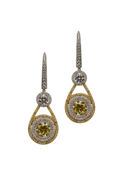Louis Newman - Platinum Fancy Yellow Diamond Dangle Earrings