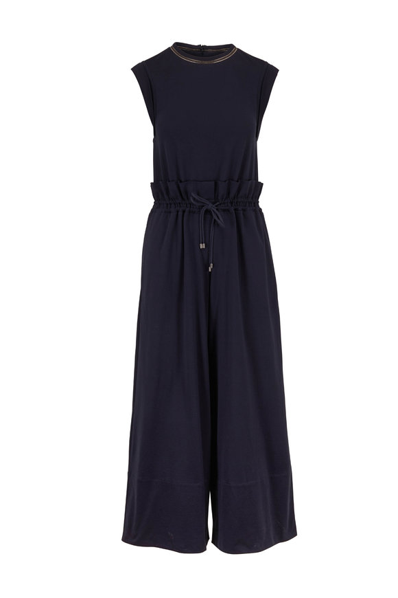 Brunello Cucinelli Exclusively Ours! Midnight Cotton Monili Jumpsuit