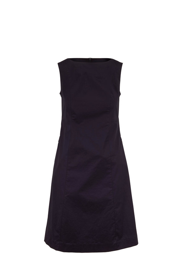Bogner Pinia Navy Stretch Cotton Sleeveless Shift Dress