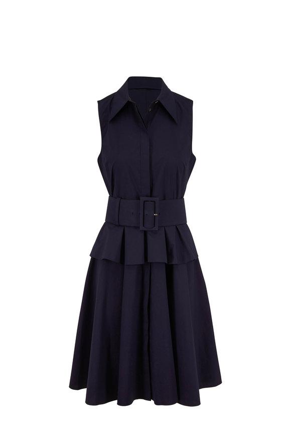 Michael Kors Collection Midnight Cotton Poplin Peplum Belted Shirtdress