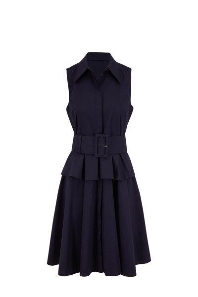 Michael Kors Collection - Midnight Cotton Poplin Peplum Belted Shirtdress