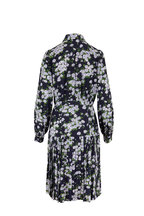 Michael Kors Collection - Midnight Daisy Crepe De Chine Long Sleeve Dress