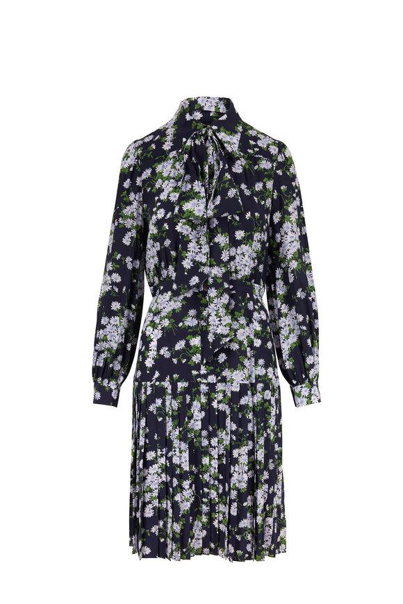 Michael Kors Collection Midnight Daisy Crepe De Chine Long Sleeve Dress