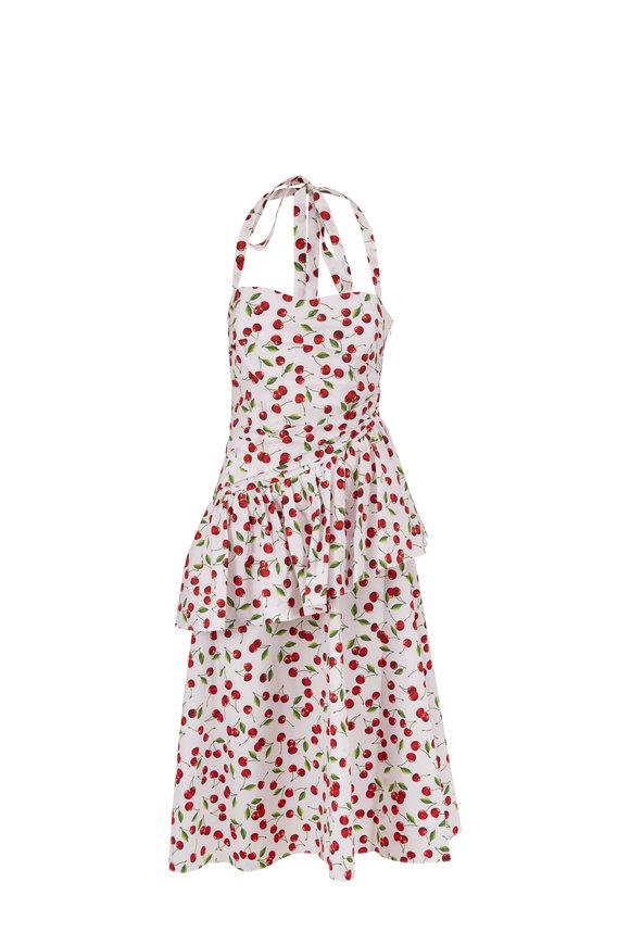 Michael Kors Collection Optic White Cherry Poplin Peplum Halter Dress