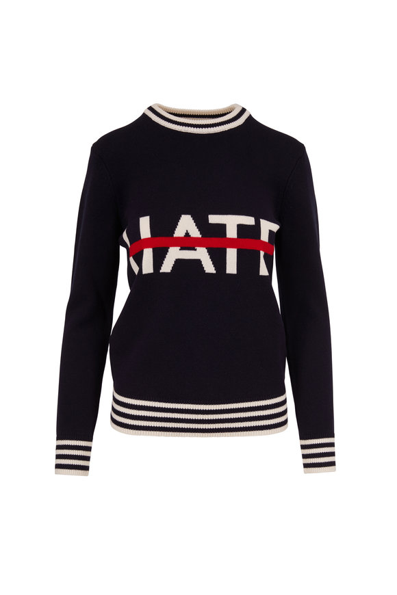 Michael Kors Collection Navy & White No Hate Intarsia Sweater