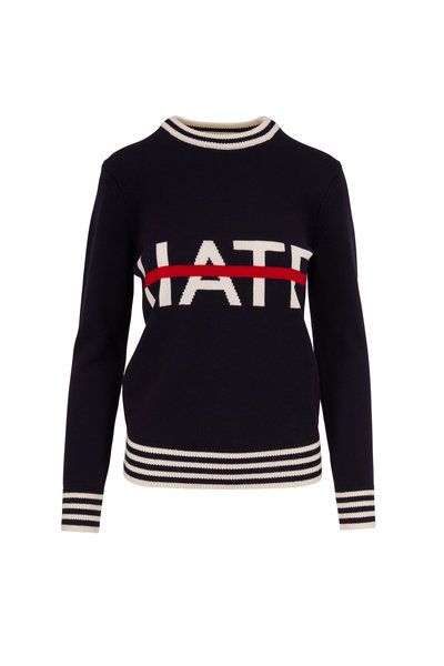 Michael Kors Collection - Navy & White No Hate Intarsia Sweater
