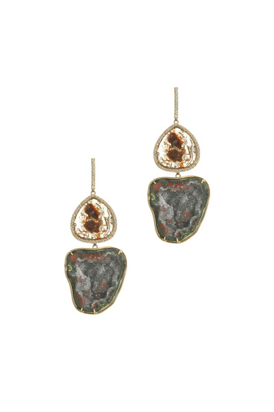 Kimberly McDonald - Yellow Gold Geode Diamond Slice Dangle Earrings