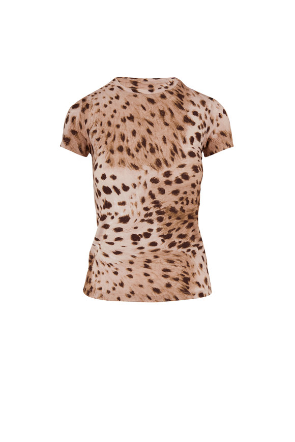 L'Agence Ressi Brown Animal Print T-Shirt
