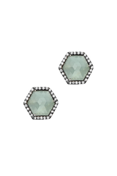 Kimberly McDonald - White Gold Aquamarine Diamond Stud Earrings