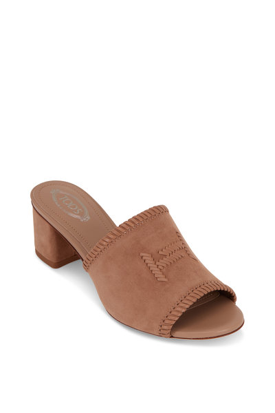 Tod's - Cappuccino Suede Woven Double-T Mule, 50mm