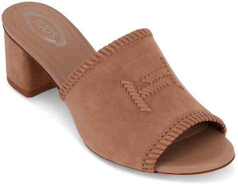 Tod's Cappuccino Suede Woven Double-T Mule, 50mm