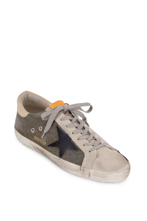 Golden Goose Superstar Green Canvas Black Suede Star Sneaker