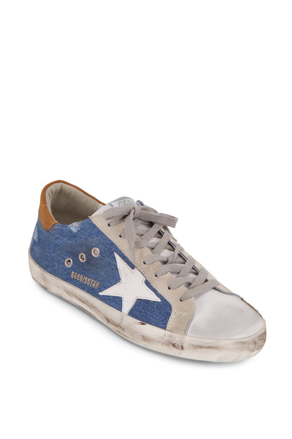 Golden Goose Superstar Blue Denim White Leather Star Sneaker