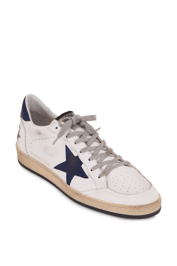 Golden Goose Ball Star White Leather Blue Suede Star Sneaker