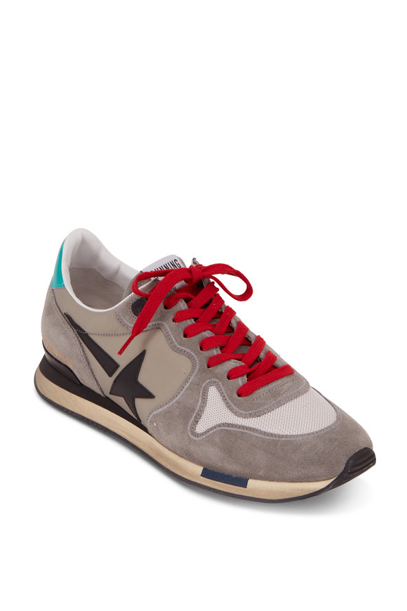 Golden Goose Gray Suede & Black Star Running Sneaker
