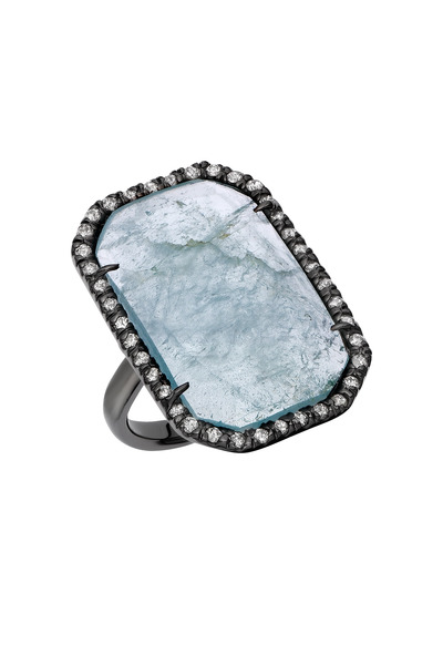 Kimberly McDonald - White Gold & Black Rhodium Aquamarine Diamond Ring