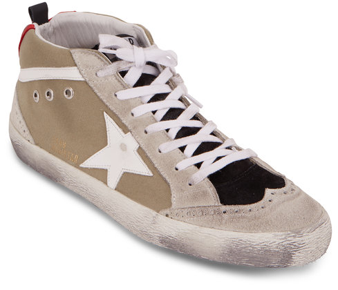 Golden Goose Mid Star Sage Canvas White Star Sneaker