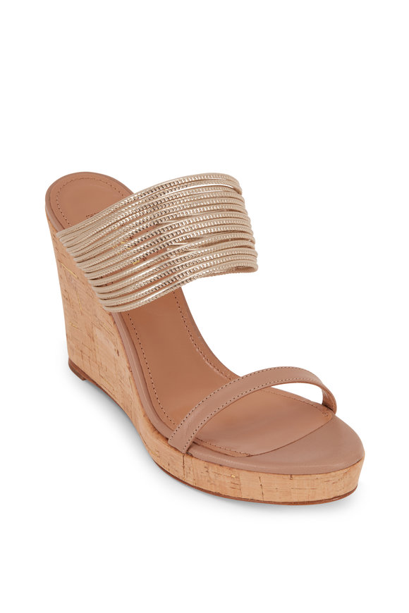 Aquazzura Rendez Vous New Nude Cork Wedge, 105mm