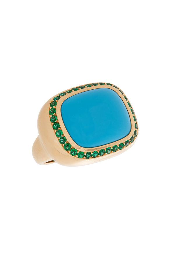 Robinson Pelham 18K Yellow Gold Phoenix Turquoise & Emerald Ring