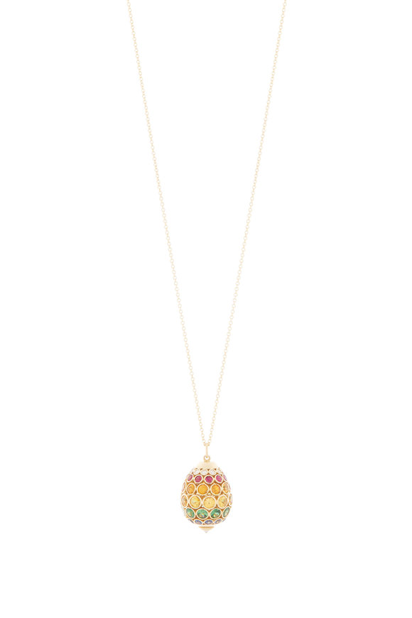 Robinson Pelham 18K Yellow Gold Rainbow Sapphire Egg Necklace