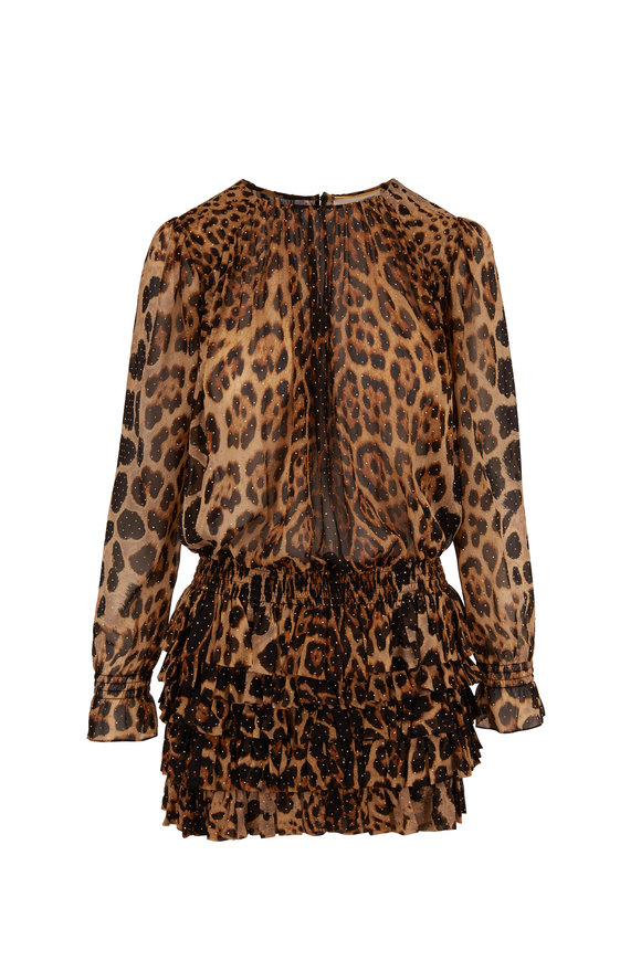 Saint Laurent Leopard Silk Ruffle Skirt Long Sleeve Dress