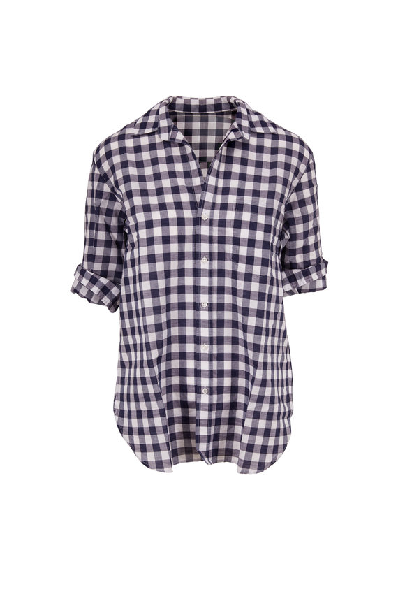 Frank & Eileen Joedy Navy Blue Check Linen & Cotton Button Down
