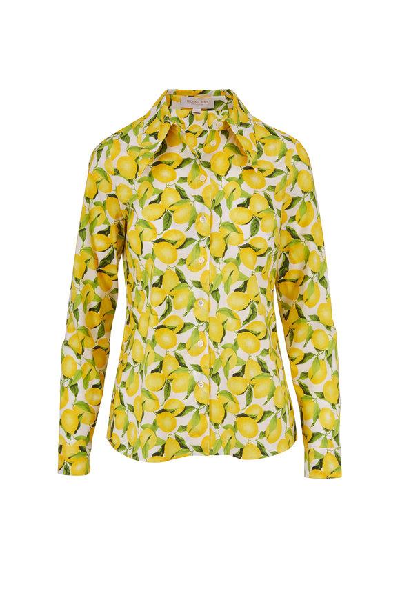 Michael Kors Collection Yellow & White Lemon Print Cotton Button Down
