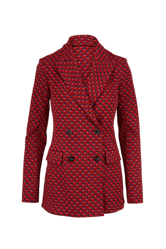 Rosetta Getty Red Multi Triangle Jacquard Double-Breasted Jacket