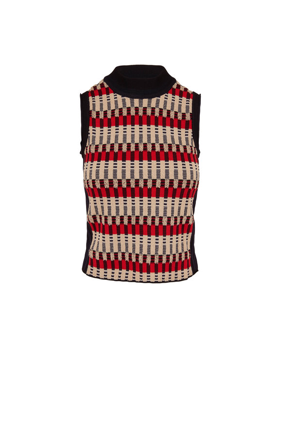 Rosetta Getty Bauhaus Multicolor Jacquard Sleeveless Sweater