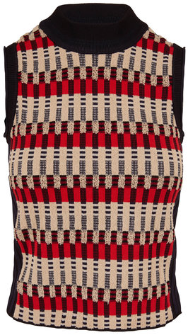 Rosetta Getty Bauhaus Multicolor Jacquard Sleeveless Sweater