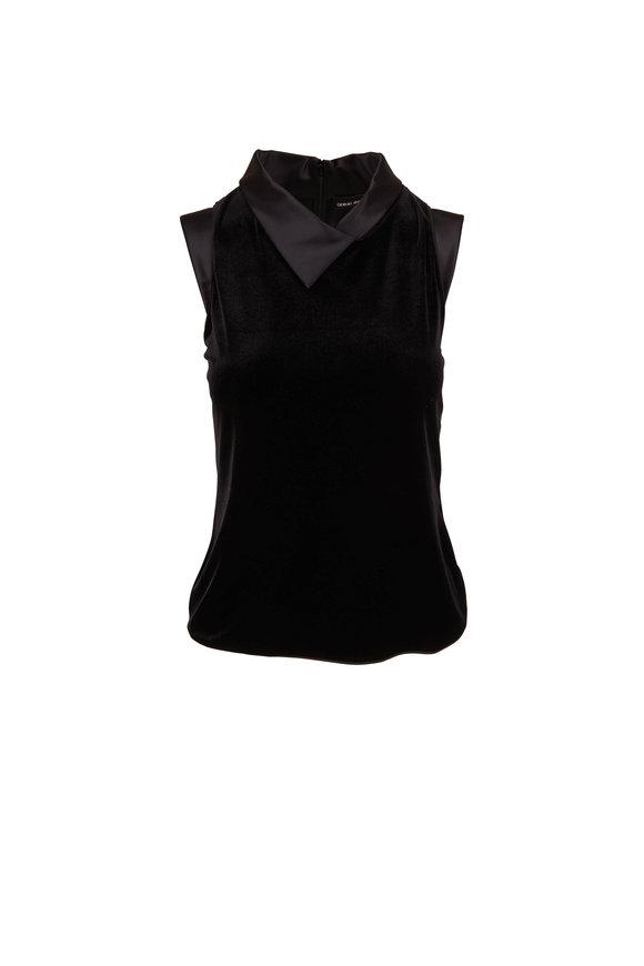 Giorgio Armani Black Velvet & Satin Trim Cap Sleeve Top