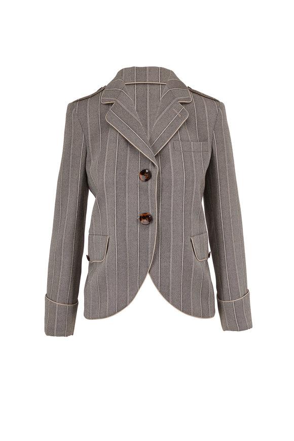 Giorgio Armani Gray & Cream Chevron Two Button Jacket