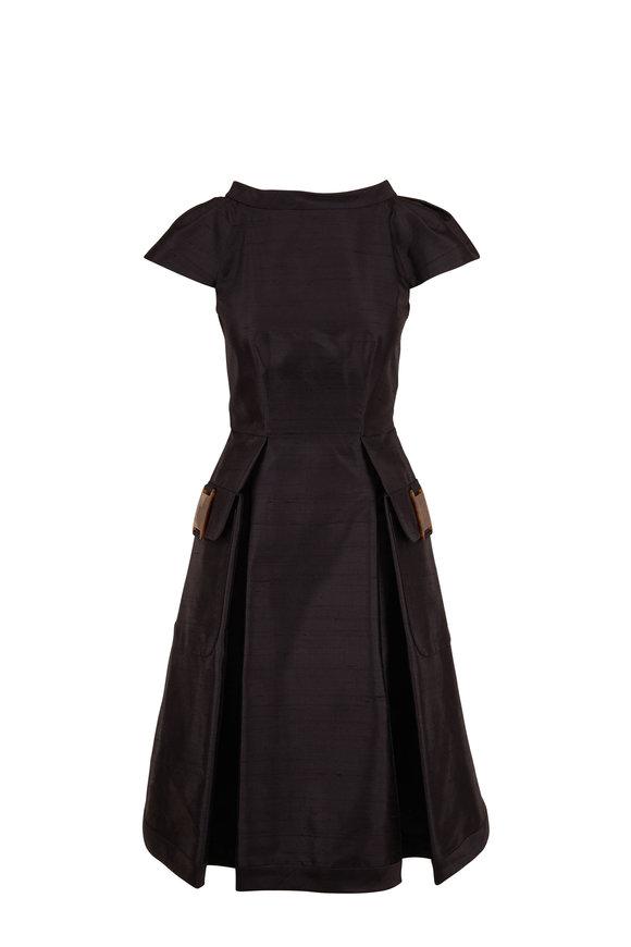Giorgio Armani Black Silk & Nylon Cap Sleeve Dress