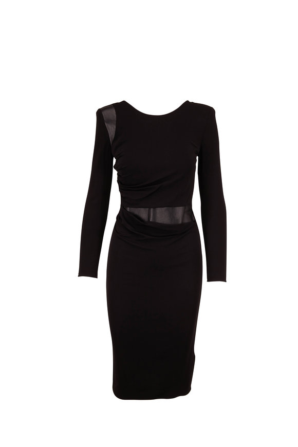 Giorgio Armani Black Leather Inset Long Sleeve Dress