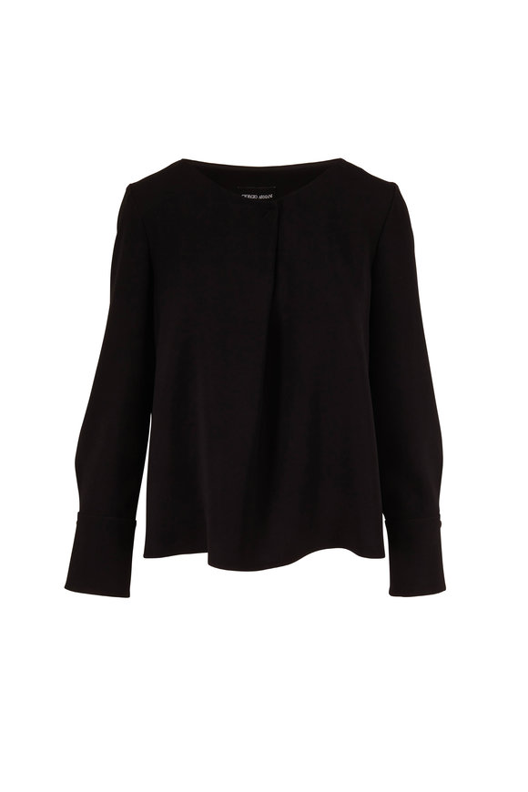 Giorgio Armani Black Crêpe Inverted Pleat Long Sleeve Blouse
