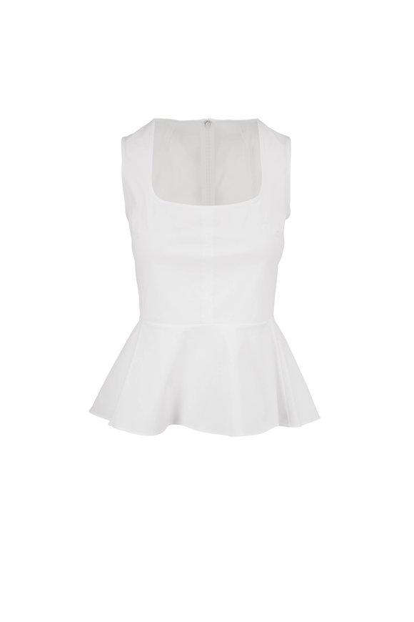 Veronica Beard Basso White Stretch Cotton Peplum Top