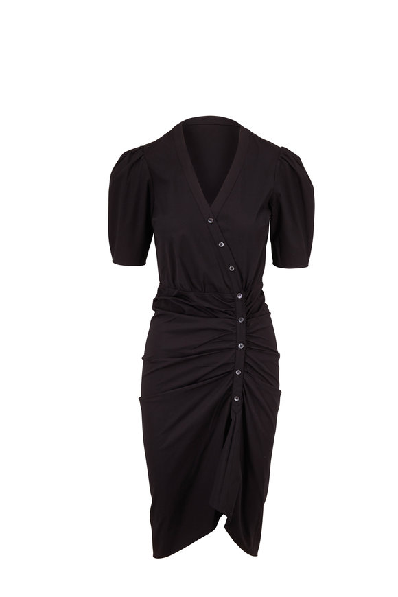 Veronica Beard Atia Black Elbow Sleeve Ruched Dress