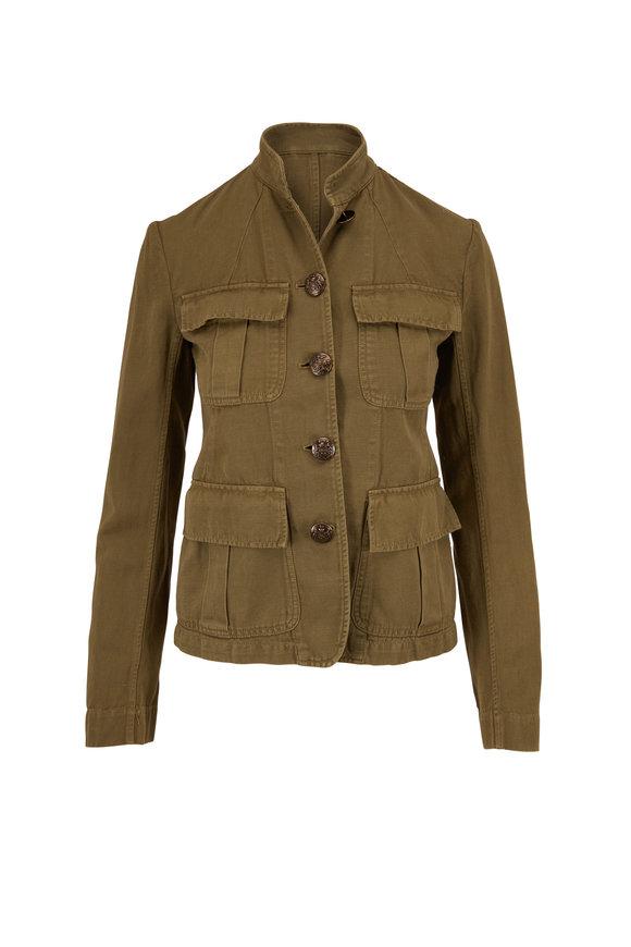 Nili Lotan Cambre Uniform Green Cotton & Linen Jacket