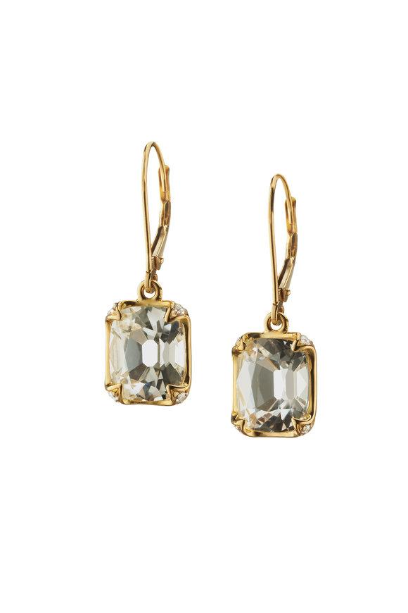 Monica Rich Kosann 18K Yellow Gold Rock Crystal & Diamond Earrings