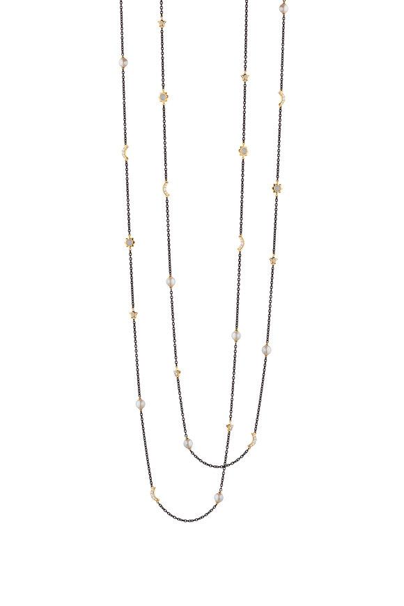 Monica Rich Kosann Steel Sun, Moon & Stars Layering Necklace
