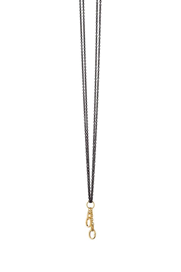 Monica Rich Kosann Steel & Gold Charm Enhancer Double Chain Necklace