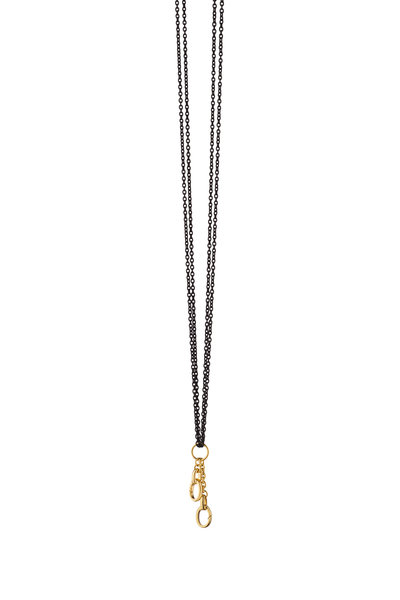Monica Rich Kosann - Steel & Gold Charm Enhancer Double Chain Necklace