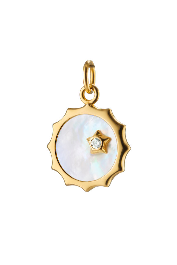 Monica Rich Kosann 18K Yellow Gold Sun & Star Mother Of Pearl Pendant
